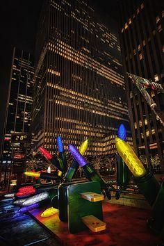 Giant Christmas lights along Avenue of the Americas. New York City, NYC. Evelina Kremsdorf