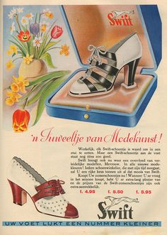 1940s Swift Shoes ad women's heels pumps brown black white color print ad illustration