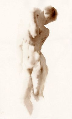 I find it amazing that this is watercolor. Artist Wendy Artin - NUDES Laura Arms Locked, watercolor on Rives BFK, x Arches Watercolor Paper, Watercolor And Ink, Watercolor Paintings, Watercolours, Woman Drawing, Life Drawing, Drawing Women, Figure Painting, Painting & Drawing