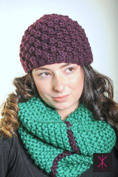 Cozy Raspberry Stitch Eggplant Hat with Sparkle by KYSAA on Etsy, $35.00