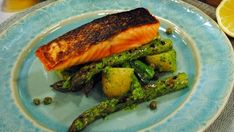 Salmon with salsa verde and asparagus