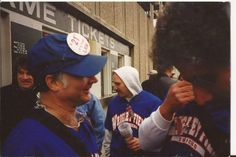 """Roger Sosner (making the """"face"""") on the left, and then comes Lloyd with the hooded Dave Levenson and Ira Levin. April, 1998."""