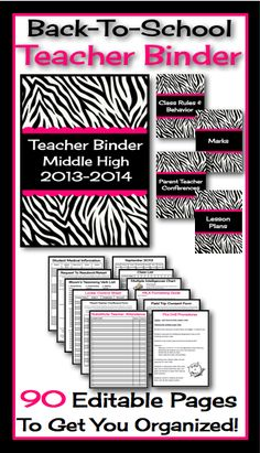 This fully editable and customizable binder has absolutely everything you will need to start your year off organized and ready to roll! All you have to do is print, hole punch, and add to a three ring binder and viola, everything you need in one place! Back To School Teacher, High School Classroom, Beginning Of School, Future Classroom, Classroom Decor, Teacher Planner, Teacher Binder, Teacher Organization, Teacher Hacks
