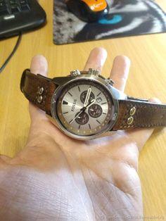 Купить ремешок  из кожи для часов  FOSSIL - браслет, подарок, ручная работа, подарок мужчине