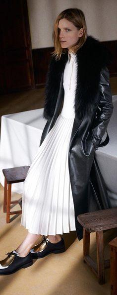 White pleated Céline dresses