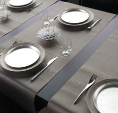 Tabletop Decorating Ideas | Tuxedo Stripe Contemporary Home Decor | Chilewich