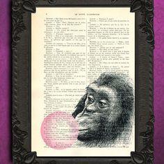 monkey pink bubble gum art print monkey bubblegum wall art by MadameMemento on Etsy https://www.etsy.com/listing/103455167/monkey-pink-bubble-gum-art-print-monkey