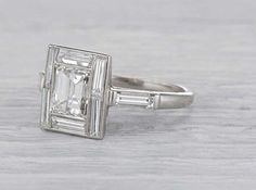 Carat Art Deco Diamond Engagement Ring - Antique Platinum Art Deco Engagement Ring with an EGL Certified Emerald Cut Diamond - deco engageme Bijoux Art Deco, Art Deco Jewelry, Vintage Jewelry, Fine Jewelry, Silver Jewelry, Vintage Rings, Vintage Art, Silver Ring, Antique Jewellery