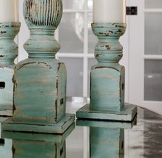 Pottery Barn distressed turquoise candlesticks--tutorial to replicate...The Yellow Cape Cod