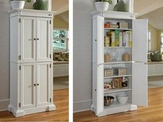 "Tall 72"" Kitchen Pantry Storage Cabinet Cupboard Bath Organizer Solid Wood White #HOSTY #ClassicCottage"