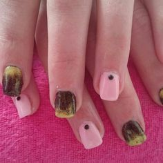 Black gold and pink nails