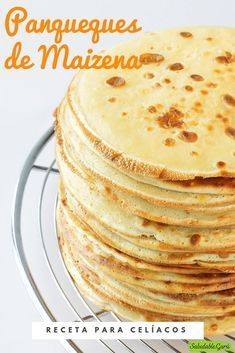 Recipe for coeliacs: Cornstarch Pancakes. Cold Desserts, Delicious Desserts, Dessert Recipes, Yummy Food, Empanadas, Gluten Free Crepes, Healthy Deserts, Cookies Ingredients, Lactose Free