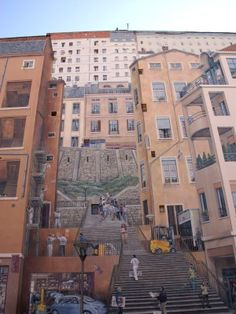 Stairs to the silk factory in Lyon, France: I spent many days learning the history of silk production in Lyon.