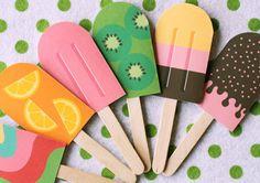 Invitaciones para cumpleaños con forma de helados