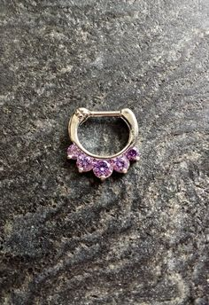 SALE  Purple Crystal Clicker Septum Piercing by FeatherBlueJewelry