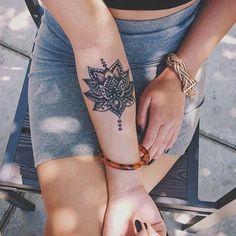 Forearm Tattoo Ideas for the Bold at MyBodiArt - Mandala Lotus Forearm Temporary Tattoo