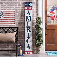 porch paint ideas Give your porch the perfect accent this Independence Day with our God Bless America Porch Board Plaque. Its bold, stand out design is sure to show off your festive s Fourth Of July Decor, 4th Of July Decorations, July 4th, America Sign, God Bless America, Decorating Blogs, Porch Decorating, Holiday Decorating, Porch Paint