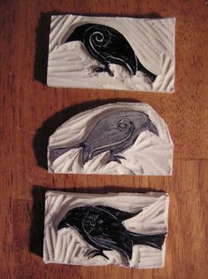 Mel Stampz: Crows: Home-made Lino Stamps