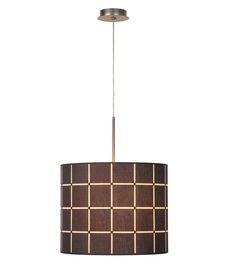 Geblokte stoffen hanglamp Conisa, Grijs - Lampgigant.nl