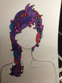 A faceless girl with Zentangled hair that's in a similar messy braid as Elsa's