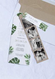 Découvrez notre faire-part de mariage 'Samoa' et ses volets complémentaires. Sensation garantie pour un mariage Tropical !