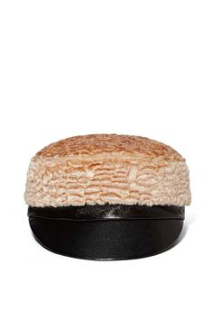 peach faux fur + leather cap <3
