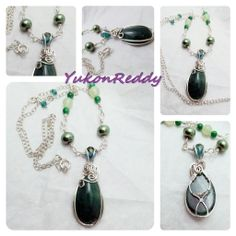 Green aventurine wrapped in sterling and fine silver. Necklace has green aventurine, serpentine, glass pearl and swarovski crystal beads.