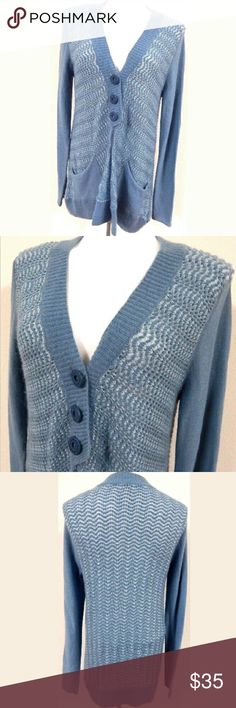 Free People Blue Shimmer Cardigan Sweater Beautiful blue metallic cardigan by Free People. Lightweight and perfect over a tee for a casual look or with a blouse to add some interest to a work look. Gently Loved in great shape with a few minor snags and minor piling. Size small, 36 inch bust and 31 inch length. Free People Sweaters Cardigans