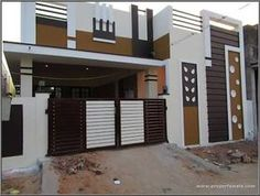 Best 60 modern house front facade design - exterior wall decoration 2019 - Her Crochet House Front Wall Design, House Outer Design, Single Floor House Design, Modern Small House Design, House Outside Design, Village House Design, Bungalow House Design, West Facing House, House Elevation