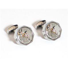 Silver SS Hexagon Watch Movement Cufflink $59.95/pair