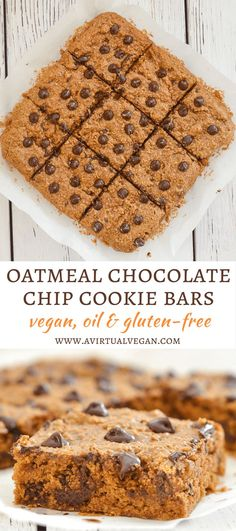 These Oatmeal Chocolate Chip Cookie Bars are perfectly soft & chewy, made healthier with oat flour & no oil, and they are absolutely delicious! via @avirtualvegan