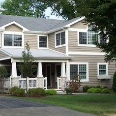 tan exterior, gray roof, white trim, siding color options for parents house