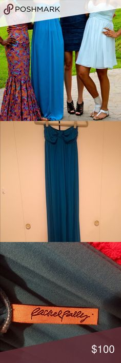 Rachel Pally Teal Blue Maxi Dress Size XS but can fit up to a M or even a L, depends on how large your bra size is. Worn twice, once to prom and a second time as a casual brunch outfit. Very versatile maxi! SO soft and comfy. The model picture is exactly what the dress looks like- I just have really bad lighting at my house which is why my pics look darker. Rachel Pally Dresses Maxi