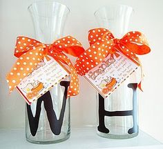 Orange juice carafes (with vinyl lettering) for teacher appreciation week.