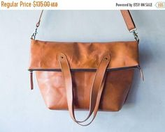 SUMMER SALES Tanned color  Genuine Leather messenger  tote