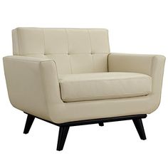 Modway Engage Mid-Century Modern Upholstered Leather Armchair In Beige