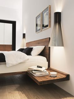 SIMPLE NIGHTSTAND | Only one shelve is enough to bring some style to your master bedroom | http://masterbedroomideas.eu/ #interiordesign #bedroomdesign