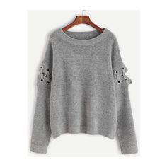 SheIn(sheinside) Grey Eyelet Lace Up Sleeve Pullover Sweater ($29) ❤ liked on Polyvore featuring tops, sweaters, grey, acrylic sweater, pullover sweaters, round neck sweater, loose tops and long sleeve pullover