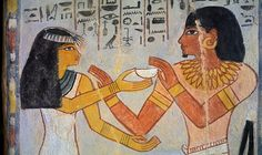 Painting of Meryt and Sennefer from the tomb of Sennefer