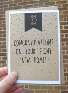 Congratulations on your new home greeting card new home cards new home card inside message blank digitally printed on kraft card mounted on white m4hsunfo