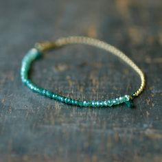 Green Onyx Ombre Bracelet Gemstone Spectrum Gold by ShopClementine