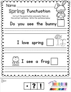 Practicing punctuation with spring worksheets FREE kindergarten worksheets printables activities Easter Spring freebie centers no prep teen numbers ordering numbers Spring April sight words phonics writing Kindergarten Handwriting, Kindergarten Homeschool Curriculum, Handwriting Activities, Free Kindergarten Worksheets, School Worksheets, Kindergarten Writing, Free Worksheets, Homeschooling, Punctuation Activities