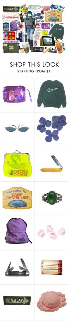 """""""sleepaway camp."""" by girlwiththepeacocktattoo ❤ liked on Polyvore featuring NIKE, POLICE, H&M, FRUIT, Market and Burt's Bees"""