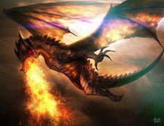 Battle Skies - Fire Dragon by alexanderjohn77.deviantart.com on @deviantART