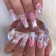 12 unique trending nail art designs for Hot nail right nail now in fashion. Stiletto nails, rainbow almond nails, Ombre rounded nail art designs for summer. Fancy Nails, Cute Nails, Pretty Nails, My Nails, Prom Nails, Sparkle Nails, Cute Acrylic Nails, Acrylic Nail Designs, Nail Art Designs