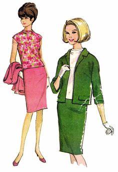 Womens Jacket Pencil Skirt Blouse Suit Pattern by patternshop, $9.99