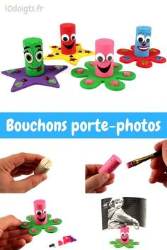 Bouchons porte-photos – Activités enfantines - Well Tutorial and Ideas Diy For Kids, Crafts For Kids, Diy Wrapping Paper, Recycled Crafts Kids, Photo Holders, Little Gifts, Funny Photos, Christmas Diy, Activities For Kids