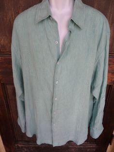 FREE SHIPPING ~ Caribeean Mens Green Aqua LINEN L/S Button Front Shirt NEW Spring HOT Cruise XL