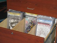 """Here's another design from http://www.comicoasis.com that they call their """"Comic Tomb"""".  Originally designed as a way for the store to store back issues, this design features a wider drawer with three bays for comics.  This design uses a bit less space, but requires some higher grade hardware to support the drawer."""