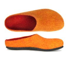 Orange, Lana, Slippers, Shoes, Fashion, Interiors, Felt Slippers, Gentleness, Felting